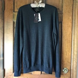 Black Brown Crewneck Merino Wool Sweater Slate XL